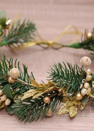 Новогодний венок веночек с ветками ели для фотосессии
