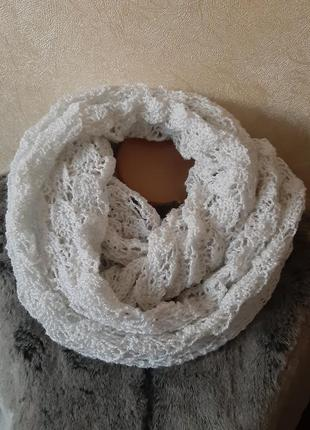 Белый ажурный снуд, хомут,шарф