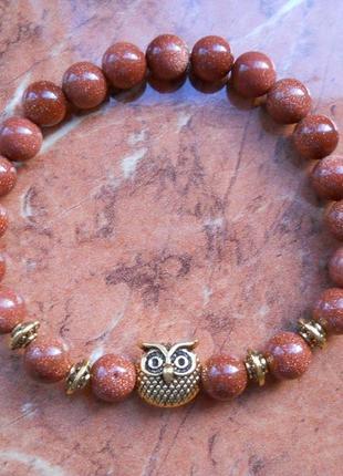 Браслет на резинке совушка сова, с блестками, золотой песок, стиль бохо, фенечка