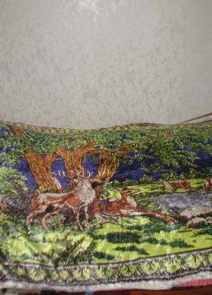 Плюшевое покрывало - коврик на скатертинной основе