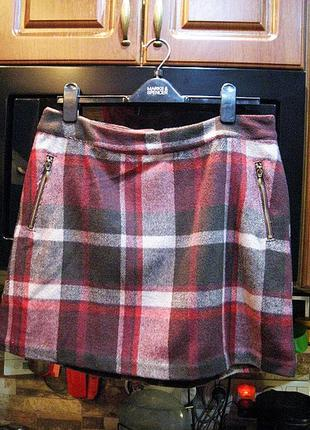 Шикарная теплая юбка в клетку