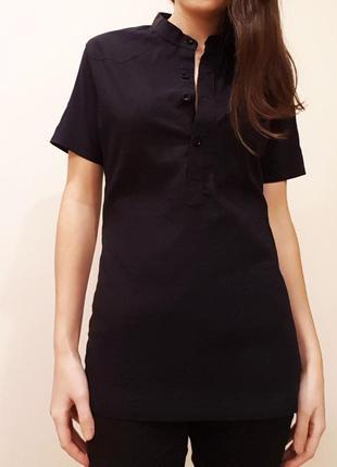 Блуза рубашка без воротника черная
