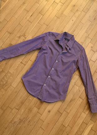 Акция! 1+1=3 оригинал ralph lauren приталенная рубашка в полоску белая фиолетовая