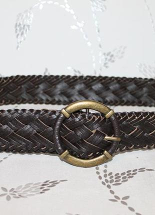 Красивый кожаный ремень плетеный/косичка