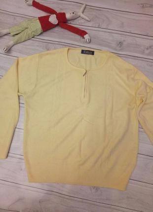 Желтый приятный пушистый свитерок, размер 54-56