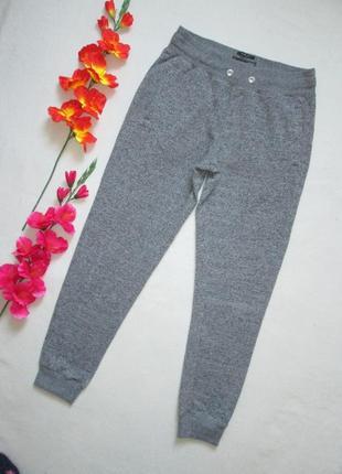 Трикотажные теплые с начесом спортивные брюки серый меланж высокая посадка f&f