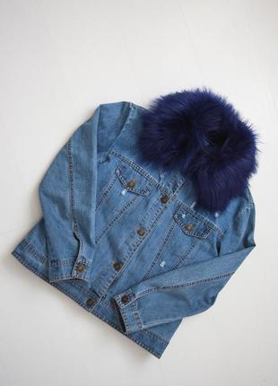 Крутая куртка джинсовка с мехом италия р.s-m