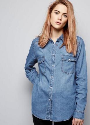 Распродажа!стильная джинсовая рубашка на кнопках 12/46 размера