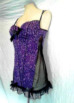 Женский сексуальный комбидресс / боди темно-фиолетовый, l