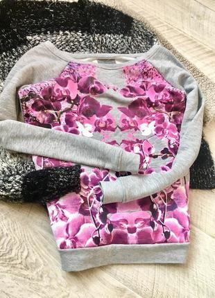 Серый джемпер свитшот с орхидеями