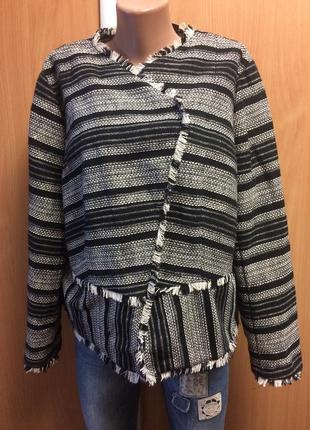 Стильный ассиметричный жакет пиджак большой размер 20