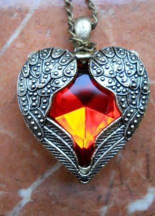 Кулон сердце крылья ангела, сердечко красный кристалл, винтаж