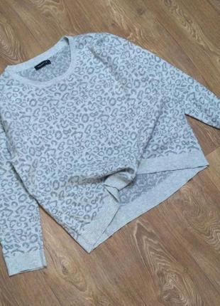 Джемпер пуловер свитер оверсайз леопардовый принт пепельный оттенок