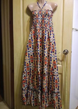 Симпатичный длинный сарафан платье 100 % хлопок atmosphere