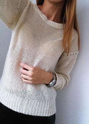 Нежный молочный свитер с люрексной нитью 1+1=3 при покупке 2-х вещей третья в подарок