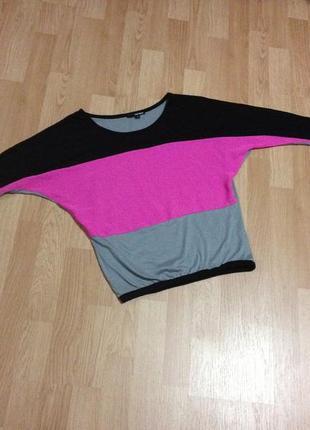 Кофта летняя в цвете серый/розовый/черный