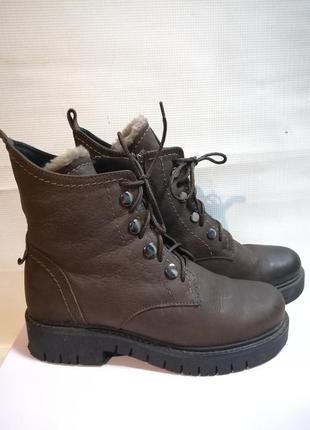 Ботинки зимние кожаные коричневые, 36