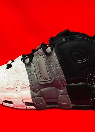 "Nike air more uptempo 96 ""tri-color"" black/gray/white женские мужские осень зима"