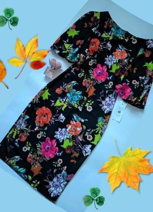 Контрастное платье-футляр с короткими рукавами клёш в тропический принт цветы птички
