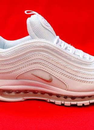 Nike air max 97 triple full white женские кроссовки белого цвета осень весна лето