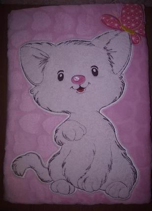 Плед флисовый детский с апликацией розовый котенок с бабочкой