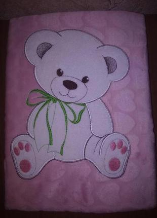 Плед флисовый детский с апликацией розовый медвежонок