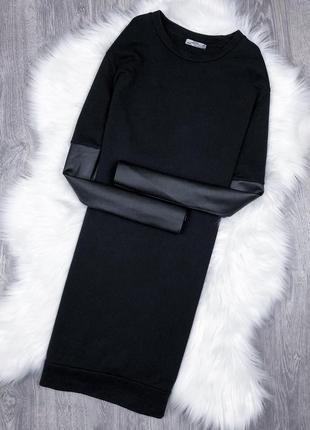 Крута сукня-світшот / платье з шкіряними рукавами zara