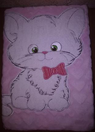 Плед флисовый детский с апликацией розовый котенок