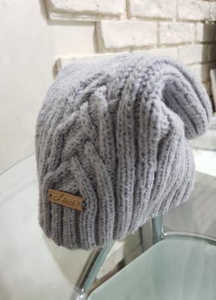 Вязаная теплая шапка на флисе шапка- чулок / в косы