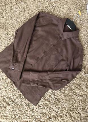 Офисная коричневая рубашка из натуральной ткани {лен+хлопок} с длинным рукавом. lerros.