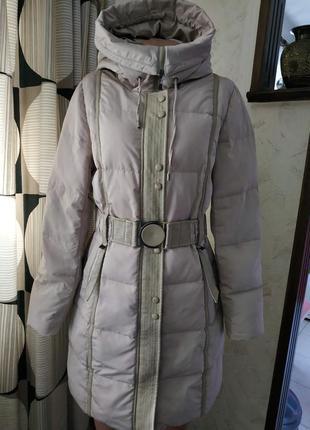 Не дорого. icibear. зимнее светлое пальто пуховик. с капюшоном. миди.