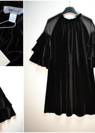 Модное бархатное платье с расклешенным рукавом  черное