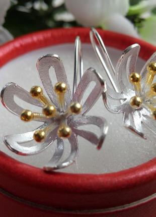 Суперскрасивые серьги-протяжки,серебро 925