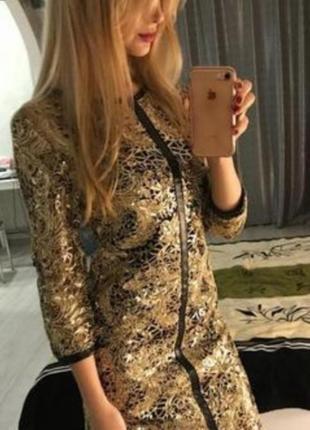 Платье коктельное золотисто- черного цвета