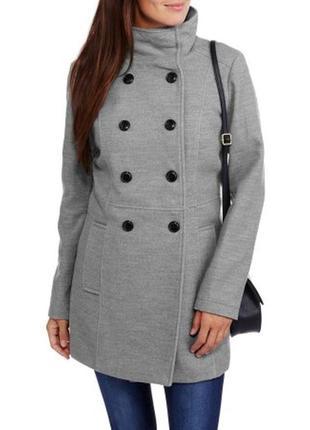 Двубортное серое пальто, базовое пальто на каждый день