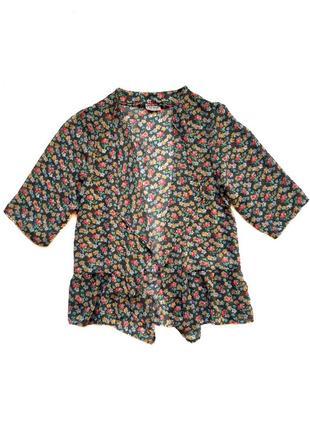 Стильная шифоновая накидка кимоно кардиган с цветочным принтом