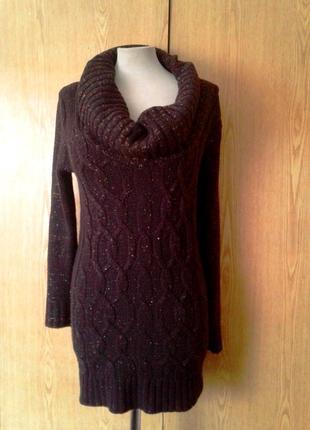 Вязаное платье шоколадного цвета с люрексом, s-l.