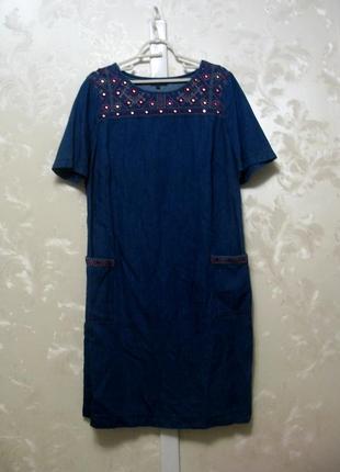 Джинсовое платье прямого силуэта с вышивкой blue 73