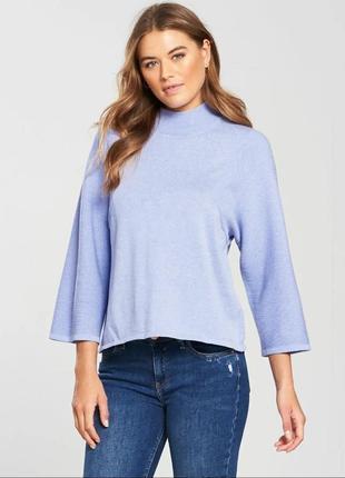 Стильный свитер с укороченными рукавами нежно-голубого цвета, 45% ангора, 55% коттон