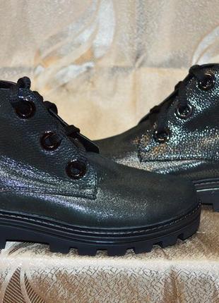 Зимние ботинки из турецкой кожи с блеском мокрый асфальт)