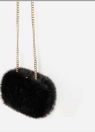 Zara меховая сумка клатч
