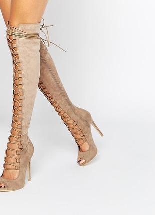 Хит ботфорты гладиаторы сапоги замшевые на шнуровке daisy street  asos