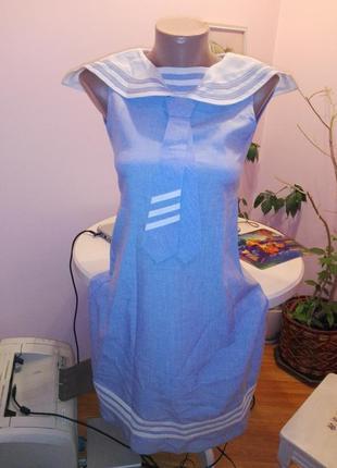 Шикарное винтажное платье в морском стиле
