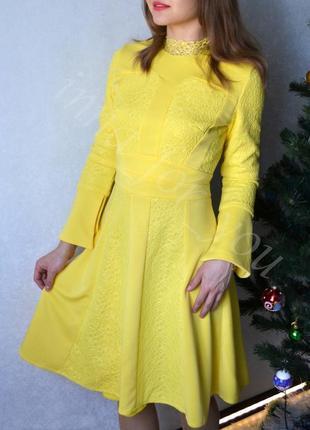 Кружевное желтое платье, нарядное платье, праздничное платье, размер s