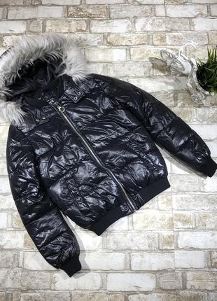 Крутая тёплая куртка дутая new look с капюшоном и мехом, демисезонная,