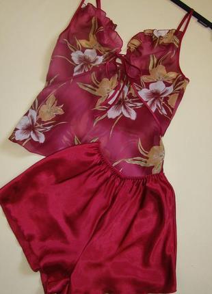 Красный секси комплект пижама костюм для сна майка шорты s/m