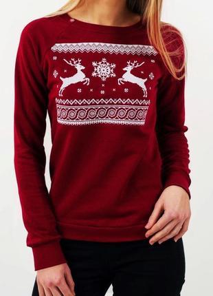 Рождественский свитшот новогодний свитер с оленями