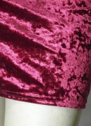 Бархатная юбка бордовая