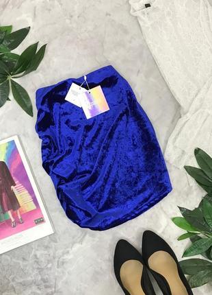 Трендовая велюровая юбка с драпировкой missguided  ki1848200