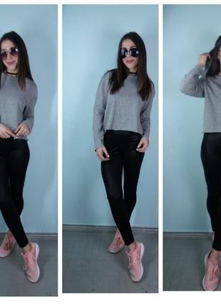 Кофта с окантовкой ,кроп-топ,пуловер темно-серая - zara3